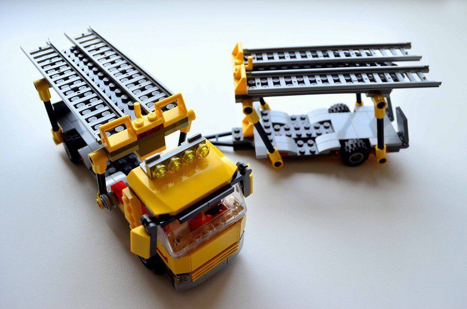 lego city auto transporter truck with trailer
