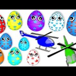 10 Surprise Eggs for Learning Colors | Helicopters | 3D Surprise Eggs Nursery Rhymes Songs for Kids