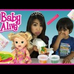 BABY ALIVE EATS PLAY DOH AND POOP IT OUT Snackin' Sara kids toys playdough Ryan ToysReview