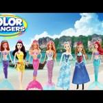 Barbie Color Changing Dolls Disney The Little Mermaid Sisters Ariel Anna Elsa Bubble Bath Pool Party