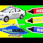 Coloring Book Compilation Vol. 1 – Learn Colours & Vehicles with Police Cars, Trucks for Kids & More