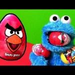 Cookie Monster Eating Kinder Surprise Eggs Angry Birds CARS Monsters University Disney Pixar