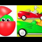 Counting Cars Halloween Edition | Surprise Eggs filled with Colors! Learn Colours & Numbers for Kids