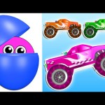 Counting Monster Trucks | Learn Colors Numbers for Kids | Animated Surprise Eggs filled with Colours