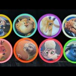 Disney Zootopia Movie Play Doh cans surprises toys for kids Inside Out Hello Kitty Snoopy