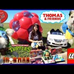 GIANT BALL SURPRISE TOYS Playtime outside with cute Dog Power Wheels Ride-On riding car Kids Video