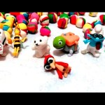House full of surprise toys for kids. Many little play doh balls and figurine toys.