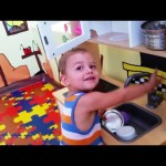 Indoor playground for kids with kitchen toy. They cooking