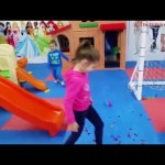 Indoor playground with funny toys for kids ; sliders, cars and motorcycles. KIDS TOYS CHANNEL