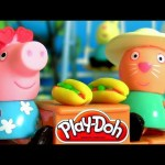 Its Picnic Time with Peppa Pig and Candy Cat in the Playground Park making Play Doh Sandwiches