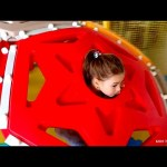 Kids  indoor playground . Funny video with toys:  swing, slide, maze, spider adidas with balls….