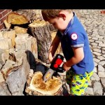 Kids unboxing toys surprise. Funny little boy cut with new chainsaw toy . VIDEO KIDS TOYS CHANNEL