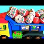 Kinder Surprise Eggs Masha and the Bear Pororo Truck Kids Toys 킨더조이 와 뽀로로 트럭과 라바 장난감  Маша и Медведь
