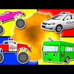 Learn Colors Collection Vol. 1 – Teach Colours for Kids Baby Toddler with Monster Truck & Police Car