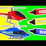 Learn Colors & Vehicles: Police Helicopter ★ Coloring Book ★ Teach Colours for Kids Baby Toddler