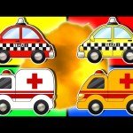 Learn Colors with Ambulance & Taxi Car | Teach Colours with Street Vehicles | Animated Surprise Eggs