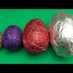 Learn Sizes with Surprise Eggs! Opening HUGE Colourful Chocolate Mystery Surprise Eggs! Part 2