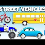 Learning Street Vehicles Names and Sounds | Cars and Trucks for Kids | Animated Surprise Eggs TV