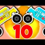 Monster Truck School Buses Teach Numbers 1 to 10 – Learn to Count for Kids – Animated Surprise Eggs