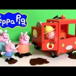 Peppa Pig Firetruck Engine Car Using Play Doh Muddy Puddles il Camion dei Pompieri Play Dough