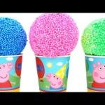 Peppa Pig Foam Clay Surprise Eggs Ice Cream Cups Disney Princess Minnie RainbowLearning