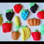Play doh fruits and vegetables, make food and cooking : grapes, corn, pumpkin, lemon, cherry