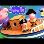 Play Doh Peppa Pig on Grandpa's Boat PIRATE SHIP Pig George Muddy Puddles – Barco del Abuelo Cerdito