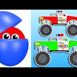 Police Car Monster Trucks | Learn Colors & Numbers for Kids | Surprise Eggs filled with Colours
