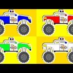 POLICE MONSTER TRUCKS | Learning Colors | Colour Lesson for Children | Animated Surprise Eggs