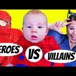 Superheroes VS Villains Spiderman IRL & Catwoman Spidey Baby Surprise Eggs Challenge KidCity Collab