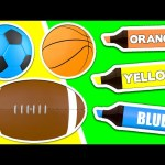 Surprise Eggs Learn Colors ★ Coloring Book: 3D SPORTS BALLS ★ Teach Colours for Kids Baby Toddler