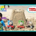 Thomas and Friends Surprise Toys in the sand at the Beach Toy Trains for Kids Family Fun Trip