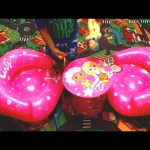 Video with surprise toys for kids. Funny  inflatable set for playing.