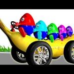 Banana Car Giant Slide 3D Playground | Surprise Eggs Learn Colors Finger Family Nursery Rhymes