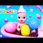 Baby Alive Bath Time Foam & Balloon Pop Surprise Toys + Orbeez Filled Bath & Giant Orbeez Balloons