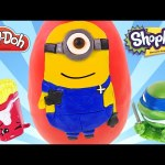 Giant Minions Carl Play Doh Surprise Egg | Opening Huge Eggs & Surprise Toys by DCTC