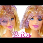 How to make SLIME with Barbie *** Glittery Ooze your Barbie Dolls for FUN!