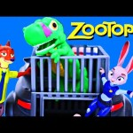 Zootopia Movie Toys Judy Hopps & Nick Catch Dinosaur in Jail with Police Car DisneyCarToys