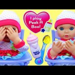 Baby Doll Plays Peek-A-Boo, Drinks Bottle & Eats in High Chair with Little Mommy DisneyCarToys