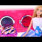 Barbie Laundry Time! Washing Shopkins – Barbie Doll Washer n' Dryer Dreamhouse Toys