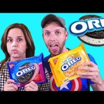 THE OREO CHALLENGE! GIANT WHIP CREAM COOKIES (Blindfold Taste Testing) Games by DCTC