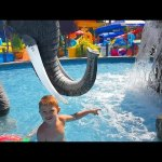Water Park fun for kids with big elephant. Video 2016 from KIDS TOYS CHANNEL