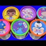 Doc McStuffins play doh cans cups surprises toys Chilli Lambie Stuffins video for kids