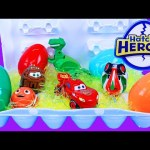 Disney Hatch Em' Heroes Surprise Toys & Eggs Opening With Disney Cars Mater, Inside Out, Toy Story