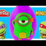 TMNT Play Doh Mega Michelangelo Surprise Egg Ninja Turtle Minions! Giant Egg Surprise Toys by DCTC