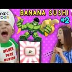 Chase's Kitchen: 100k BANANAS!! Silver Play Button Banana Sushi & Cream Pie Fun! (#2) | DOH MUCH FUN