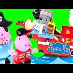 Play Doh Peppa Pig Lego PIRATE SHIP Nickelodeon Peppa Pig Building Block Toys & Real Cannon