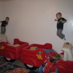 Twins Free Fall & Jump into Their Step2 Firetruck Beds