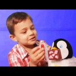 Kids playing with toys. Hungry penguin eat food set toy. Video for fun 2016