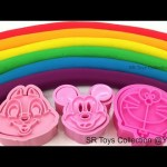 Fun Learn Colours with Play Doh Rainbow Mickey Mouse Doraemon Hello Kitty Star Winnie the Pooh Molds
